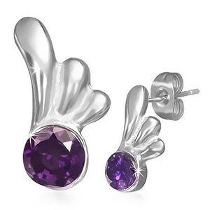 Cercei din oţel - cu şurub, cu ştras violet şi aripă de înger imagine