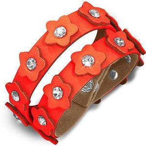 Brăţară din piele portocalie - cureluşă cu flori şi zirconiu imagine