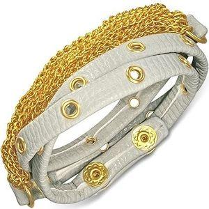 Bijuterii eshop - Brăţară din piele - curea gri cu încrustaţii aurii şi lănţişoare AB21.09 imagine
