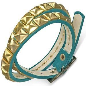 Bijuterii eshop - Brăţară dublă din piele artificială - curea albastră cu piramide aurii AB21.05 imagine