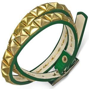 Bijuterii eshop - Brăţară din piele artificială - curea verde, piramide aurii AB21.16 imagine