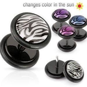 Piercing ureche fals - cerc cu model tigru - Culoare Piercing: Albastru imagine