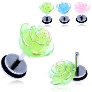 Piercing fals pentru ureche - un trandafir în nuanţele curcubeului - Culoare Piercing: Albastru imagine