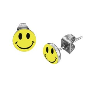 Bijuterii eshop - Cercei rotunzi din oţel - emoticon AA47.15 imagine