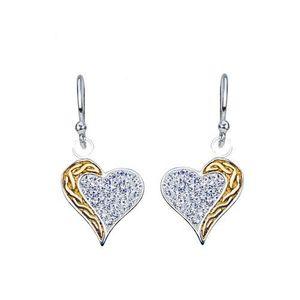Cercei atârnați din argint - inimă zirconiu, linie aurie răsucită imagine