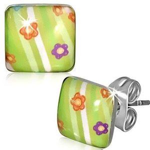 Cercei pătraţi din oţel - verzi cu flori şi dungi imagine