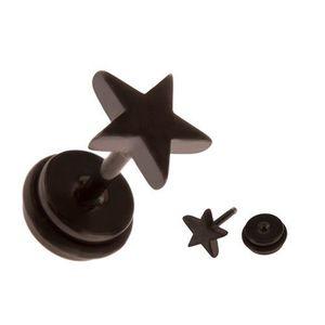 Piercing fals din oțel pentru ureche - stea neagră imagine