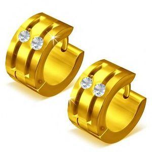 Cercei rotunzi din oţel - aurii, două adâncituri decorate cu zirconiu imagine