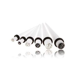 Expander pentru ureche, din acrilic - alb, smălțuit, zirconiu - Lățime: 4 mm, Culoare zirconiu piercing: Transparent - C imagine