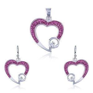 Set din argint - pandantiv şi cercei, zirconiu roz, contur de inimă imagine