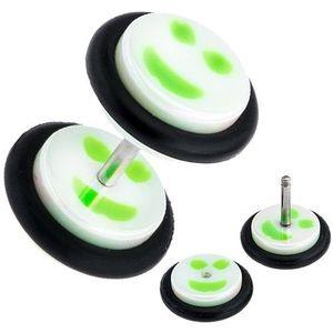 Plug fals pentru ureche, din acrilic, smiley cu alb şi verde imagine