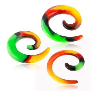 Expander pentru ureche din silicon, spirală cu motiv Rasta - Lățime: 10 mm imagine