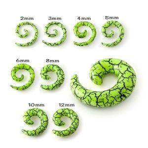Expander pentru ureche - plug verde deschis în formă de melc, efect de crăpături negre - Lățime: 10 mm imagine