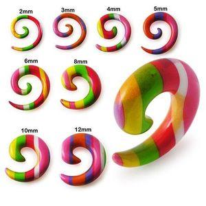 Expander pentru ureche - spirală cu dungi colorate - Lățime: 10 mm imagine
