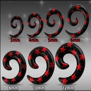 Expander pentru ureche, negru - spirală cu stele roşii - Lățime: 10 mm imagine