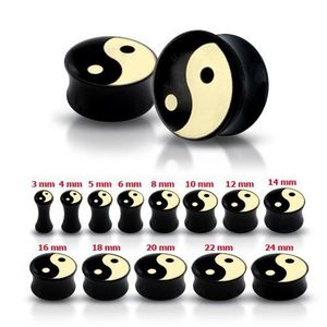 Plug pentru ureche, negru, lucios, cu simbolul Yin-Yang - Lățime: 10 mm imagine