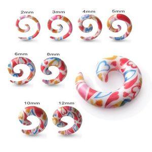 Expander pentru ureche - plug alb în formă de melc, cu inimi colorate - Lățime: 10 mm imagine