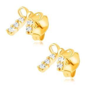 Cercei din aur galben de 14K - fundiță strălucitoare, pietre imagine