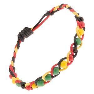 Șnur împletit galben, roșu și negru cu mărgele colorate imagine