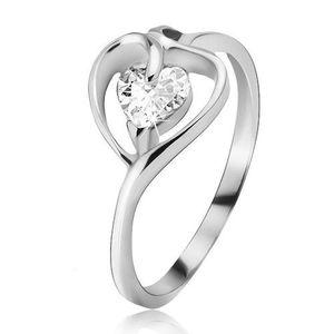 Inel argint, contur de inimă cu zirconiu transparent - Marime inel: 49 imagine