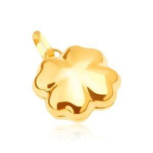 Pandantiv lucios din aur - trifoi cu patru foi tridimensional imagine