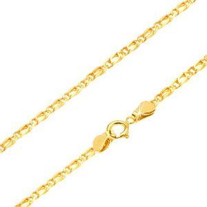 Lanț din aur galben 14K - zale ovale legate, plate, 500 mm imagine
