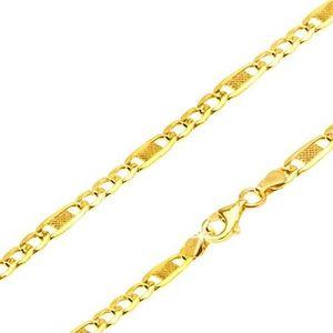 Lanț aur galben 14K - trei ochiuri, o za lungă cu plasă, 550 mm imagine