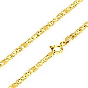 Lanț aur 14K, ochiuri ovale cu pivot, za cu plasă, 550 mm imagine