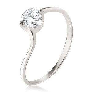 Inel argint, zirconiu transparent în montură, formă uşor curbată - Marime inel: 49 imagine