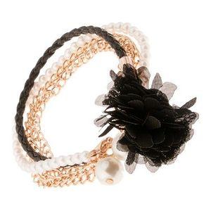 Brăţară - împletitură neagră, lanţ auriu, mărgele, floare neagră imagine