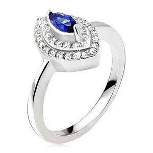 Inel argint, zirconiu albastru, elipsă din zirconiu - Marime inel: 48 imagine