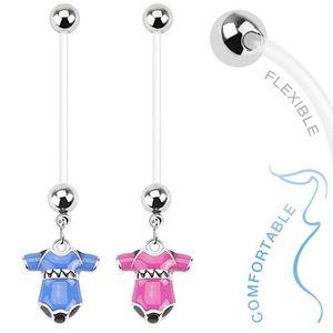 Piercing pentru buric realizat din bioflex pentru femei însărcinate, body colorat de bebeluș - Culoare Piercing: Albastru imagine
