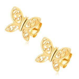 Cercei din aur galben de 14K - fluturi strălucitori, ornamente filigranate imagine