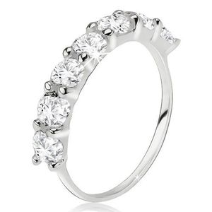 Un inel argint 925, linie de zirconiu rotund, transparent - Marime inel: 49 imagine