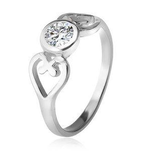Inel argint veritabil, contur de inimă, zirconiu rotund, transparent, în montură decorativă - Marime inel: 49 imagine