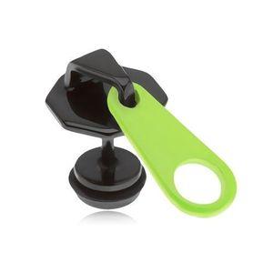 Plug fals pentru ureche, negru, din oţel, fermoar, cheiţă galbenă neon, DVF imagine