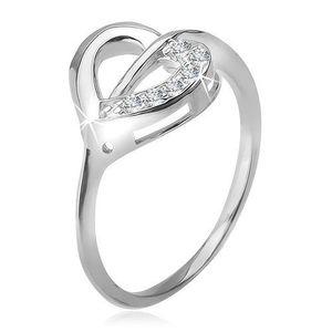Inel argint 925, contur de inimă, jumătate simplă şi jumătate cu zirconiu - Marime inel: 49 imagine