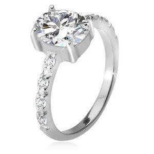 Inel argint 925, braţe cu zirconiu, ştras oval, transparent - Marime inel: 49 imagine