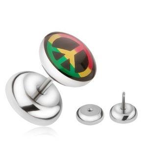 Plug fals pentru ureche din oțel, simbol al păcii în trei culori imagine