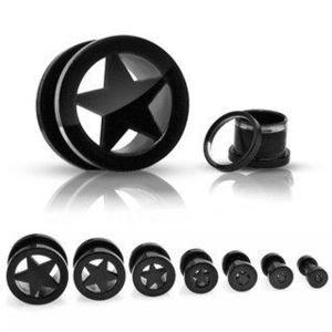 Tunel şurub pentru ureche, negru, stea în cinci colţuri - Lățime: 10 mm imagine