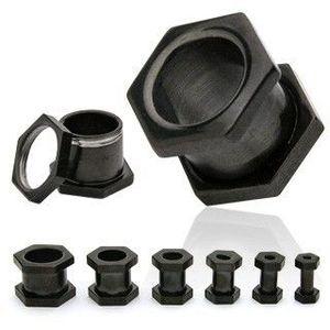 Piercing şurub pentru ureche, negru, în formă de hexagon - Lățime: 10 mm imagine