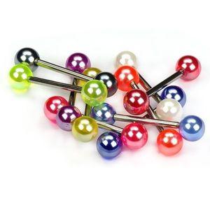 Piercing pentru limbă, perle colorate - Culoare Piercing: Alb imagine