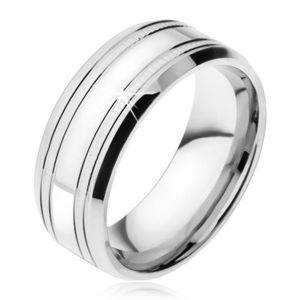 Verighetă argintie, foarte lucioasă, din oţel, două dungi subţiri, cu striaţii - Marime inel: 57 imagine