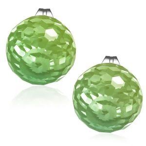 Cercei din oţel, bilă din sticlă faţetată de culoare verde imagine