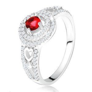 Inel - ştras roşu cu dublu contur din zirconiu, inimi, argint 925 - Marime inel: 49 imagine