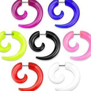 Expander fals pentru ureche - spirală lucioasă din acrilic - Culoare: Alb imagine