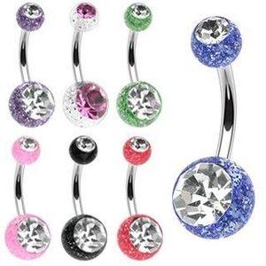 Piercing din oțel cu sclipici și bile mici - Culoare Piercing: Albastru imagine