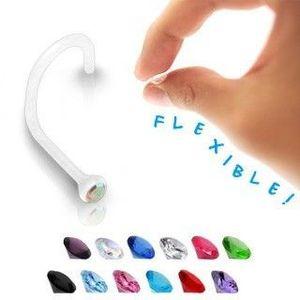 Piercing pentru nas - Bioflex transparent cu zirconiu colorat - Culoare zirconiu piercing: Albastru - B imagine