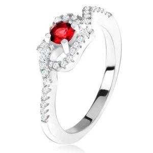Inel argint 925, ştras roşu, braţe curbate, cu zirconiu - Marime inel: 49 imagine