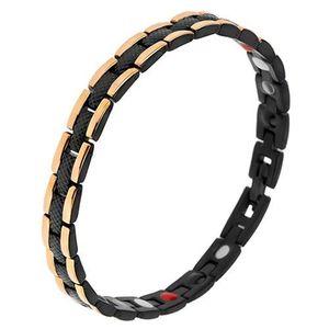 Brățară neagră din oțel cu model șarpe, fâșii aurii pe margini, magneți imagine